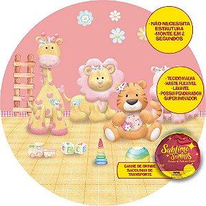 Painel De Festa Tecido Sublimado Abre Fácil Safari Rosa e Brinquedos 1,55m