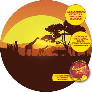 Painel De Festa Tecido Sublimado Abre Fácil Safari Sol 1,55m