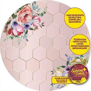 Painel De Festa Tecido Sublimado Abre Fácil Fundo Rose Gold Flores Coloridas 1,55m
