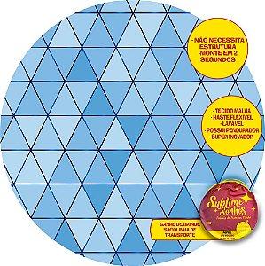 Painel De Festa Tecido Sublimado Abre Fácil Fundo Geométrico Azul 1,55m