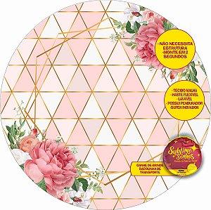 Painel De Festa Tecido Sublimado Abre Fácil Geométrico Fundo Rose 1,55m