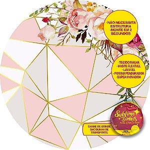 Painel De Festa Tecido Sublimado Abre Fácil Geométrico Rose com Flores 1,55m