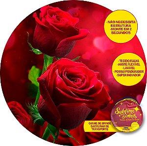 Painel De Festa Tecido Sublimado Abre Fácil Rosas dia das mães 1,55m
