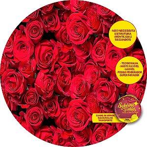 Painel De Festa Tecido Sublimado Abre Fácil Flores Vermelhas 1,55m