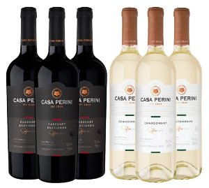 Kit Casa Perini 3: 3 Vinhos Cabernet Sauvignon 750ML + 3 Vinhos Chardonnay 750ML