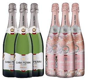 Kit Casa Perini 1: 3 Espumantes Demi Sec 750ML + 3 Espumantes Aquarela 750ML