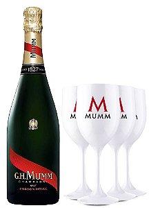 Kit Champagne G.H. Mumm Cordon Rouge 750ML + 4 Taças de Acrílico Personalizadas