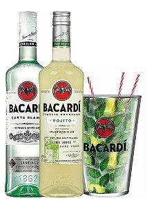 Kit Bacardi Mojito 980ml + Bacardi Carta Blanca 980ml + Copão de Mojito 2,2L