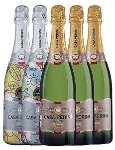 Kit Casa Perini - 2 Espumantes Summer Edition Moscatel + 3 Espumantes Brut Charmat