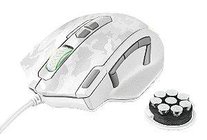 Mouse Gamer RGB GXT 155W Caldor 4000dpi Memória Interna 11 botões Peso Ajustável - Branco - Trust