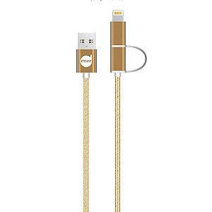 CABO LIGHTNING / MICRO USB GOLD 2 EM 1 – NYLON ENTRELAÇADO - DAZZ