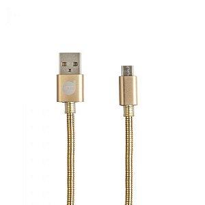 CABO MICRO USB 2.0 GOLD - METAL ENTRELAÇADO