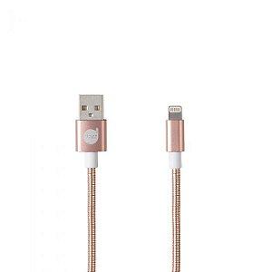 CABO USB LIGHTNING ROSE - METAL ENTRELAÇADO