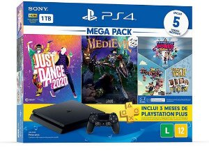 PLAYSTATION 4 SLIM COM 1TB : MEDIEVIL, JUST DANCE 2020, JOGOS INDIE
