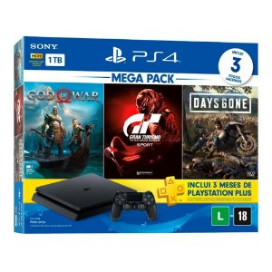 CONSOLE PLAYSTATION 4 MEGA PACK V12 – GOD OF WAR, GRAN TURISMO SPORT, DAYS GONE – 1TB