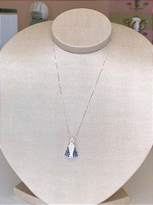 Colar Nossa Senhora Manto Azul Prata 925