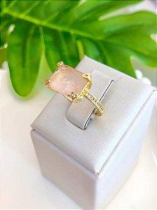 Anel TAM:15 Pedra Quadrada Laranja Cravejado Dourado