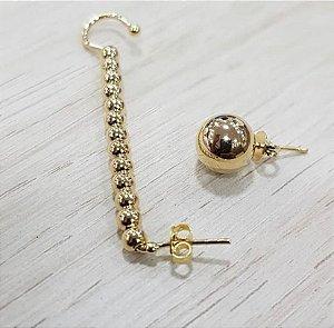 Brinco/Piercing Desigual Bolinhas Dourado