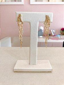 Brinco Elos Cartier Pendurados com Zirconias