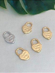 Pingente Coração  Amor Heart Dourado