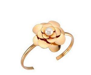 Bracelete Fino de Flor com Pérola
