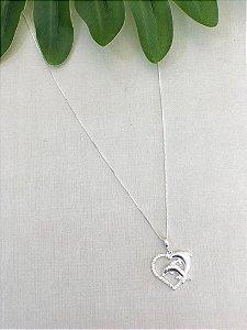 Colar Coração Cravejado Com Golfinho Prata 925