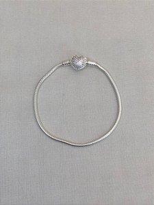 Pulseira Pandora Coração Cravejado Prata 925