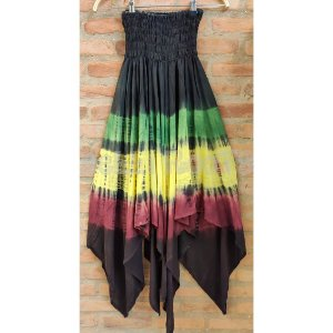 Saia Midi - Tie Dye com barra irregular (2 em 1)