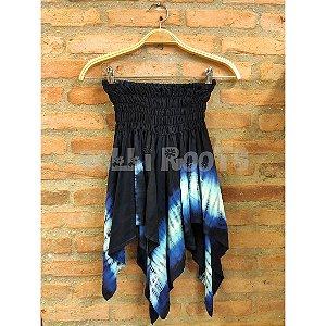 Saia Tie Dye Azul com barra irregular 2 em 1