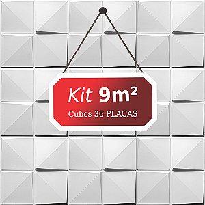 Kit 9m²  Revestimento 3D Cubos