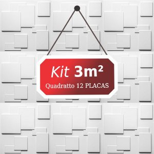 Kit 3m² Placas de Revestimento 3D Quadratto
