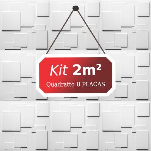 Kit 2m² Placas de Revestimento 3D Quadratto