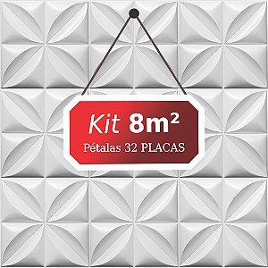 Kit 8m² Placas de Revestimento 3D Pétalas