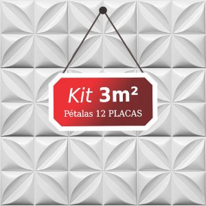 Kit 3m² Placas de Revestimento 3D Pétalas