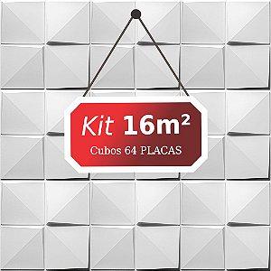 Kit 16m²  Revestimento 3D Cubos