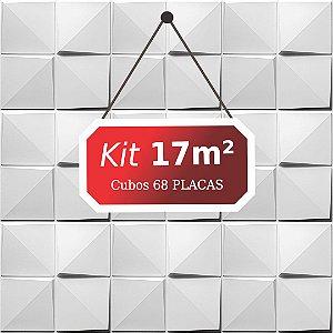 Kit 17m²  Revestimento 3D Cubos