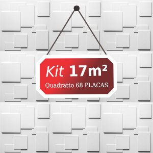 Kit 17m² Placas de Revestimento 3D Quadratto
