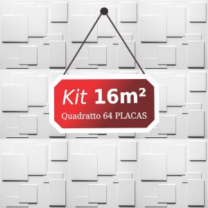 Kit 16m² Placas de Revestimento 3D Quadratto