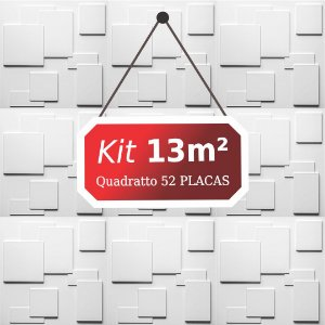 Kit 13m² Placas de Revestimento 3D Quadratto