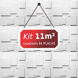 Kit 11m² Placas de Revestimento 3D Quadratto