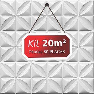 Kit 20m² Placas de Revestimento 3D Pétalas