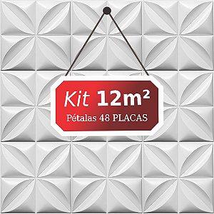 Kit 12m² Placas de Revestimento 3D Pétalas