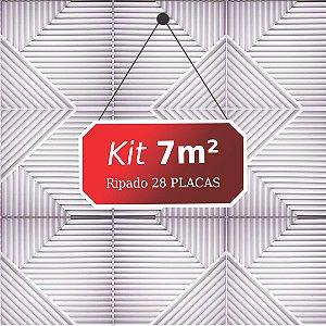 Kit 7m² Placas de Revestimento 3D Ripado