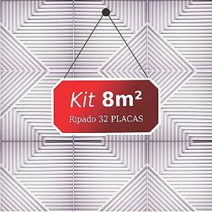Kit 8m² Placas de Revestimento 3D Ripado