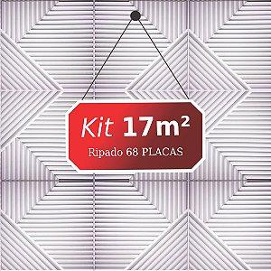 Kit 17m² Placas de Revestimento 3D Ripado