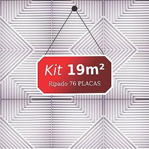 Kit 19m² Placas de Revestimento 3D Ripado