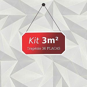 Kit 3m² Placas de Revestimento 3D Trapézio
