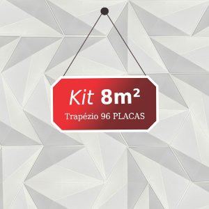 Kit 8m² Placas de Revestimento 3D Trapézio