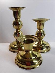 Castiçal Dourado Vela Única - Tamanhos Variados