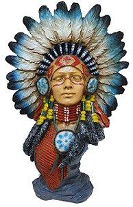 Busto India com cocar 28cm